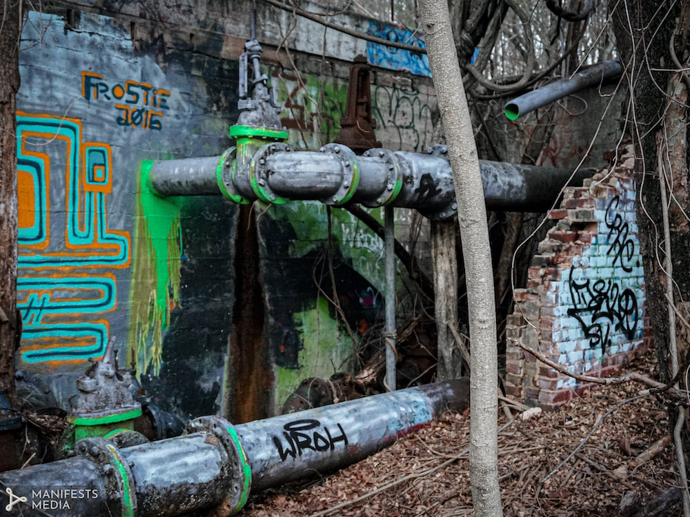 Graffiti covered ruins of the Decatur Waterworks facilities in Decatur, Georgia
