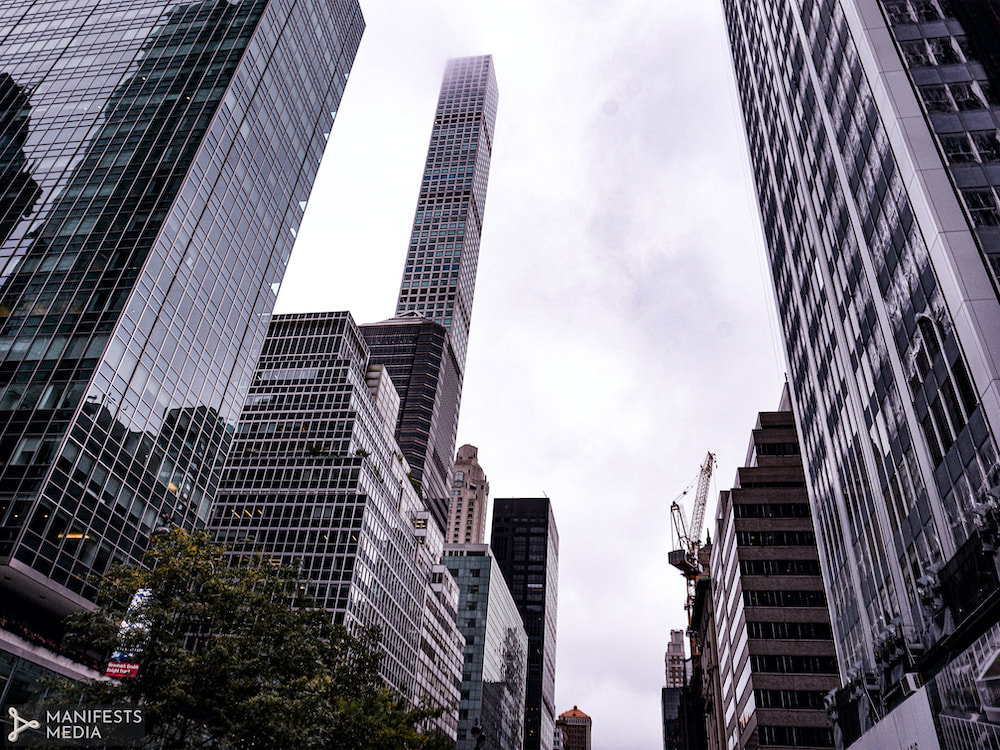 Low-lying clouds blanketing the skyscrapers in Manhattan New York.